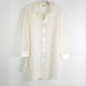 VS Vintage S Ivory Satin Lace Sleep Shirt 0118